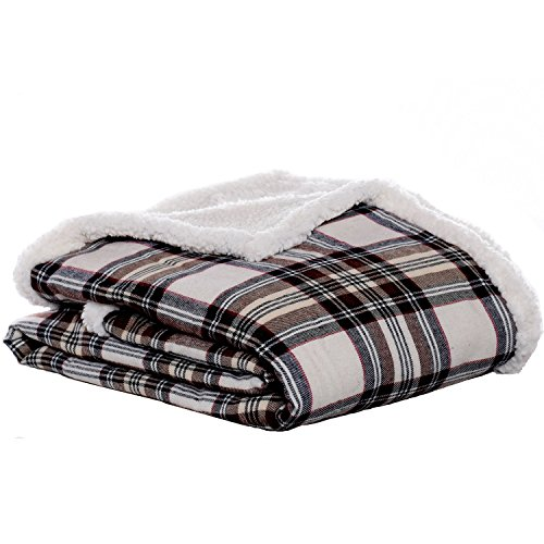 Eddie Bauer | Flannel Collection | Throw Blanket-Reversible Sherpa Fleece Cover, Soft & Cozy, Perfect for Bed or Couch, Edgewood Khaki