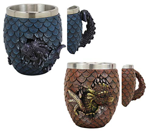 Ebros Medieval Khaleesi's Elemental Dragon Colorful Scale Egg With Hatching Wyrmling Small Coffee Tea Mug Cup 3.75' High Fantasy GOT Themed Dungeons And Dragons Drinking Cups (Set of 2 Red And Blue)