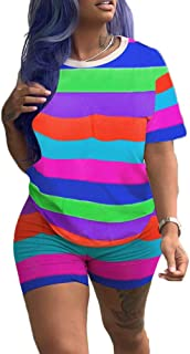 Rainbows 2 Piece Outfit Women Sexy Striped Clubwear O Neck Loose Shirt Skinny Short Pants Sportwear Jumpsuit