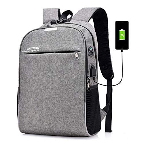 LASTARTS College Backpack, Business Slim Laptop Backpack With USB Charging Port,Water Resistant Computer Bag For Women & Men Fits 16 Inch Laptop And Notebook Briefcases For Men (Color : 2gray)