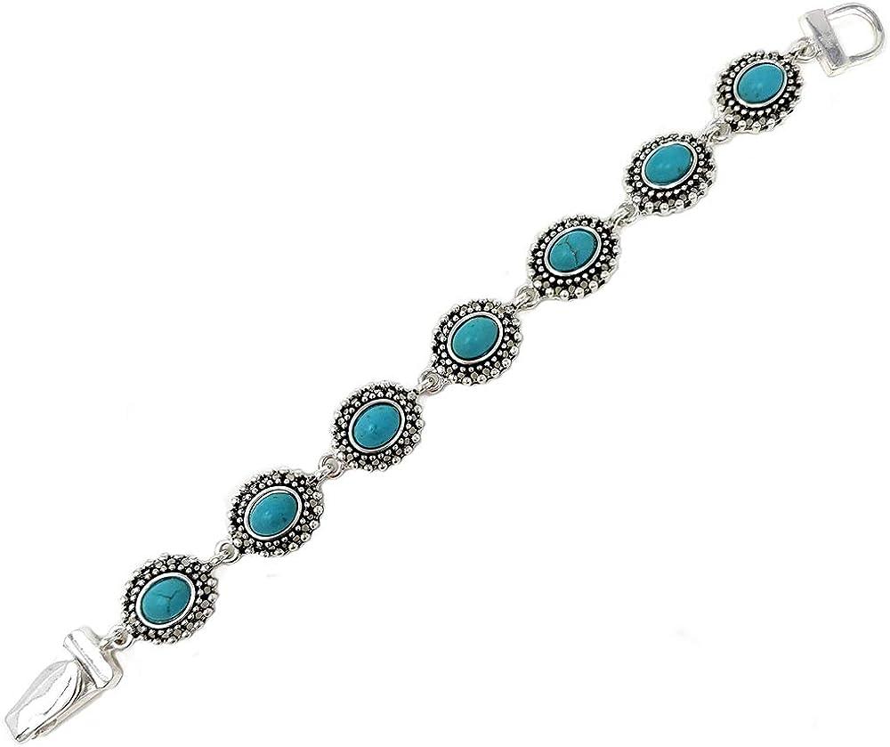 Emulily Turquoise Designer Texture Oval Magnetic Link Bracelet