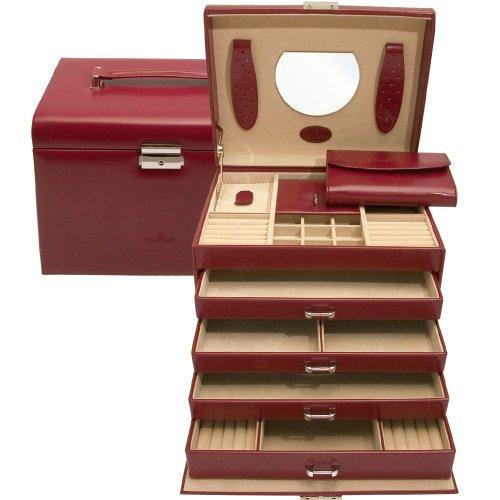 Windrose Merino Schmuckkoffer mit Schmucktasche 26 cm rot