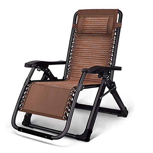 Silla plegable al aire libre del hogar del verano,Tumbona portátil reclinable,Silla de salón llena de hierbas plegable,Silla de patio plegable reclinable café JoinBuy.R