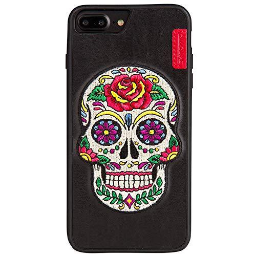 Skinarma Irezumi Rocker iPhone 8 Plus/8/7 Plus/7/6S Plus/6S/6 Plus/6, Custodia Cover Case Protettiva di Protezione, Ricamata Ricamo a Mano, Pelle Sintetica,TPU e pu, Teschio (iPhone 8+/7+/6S+/6+)