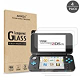 AKWOX (4-Pack) Nintendo 2DS XL Screen Protector, Tempered Glass Top LCD Screen Protector + HD Clear Crystal...