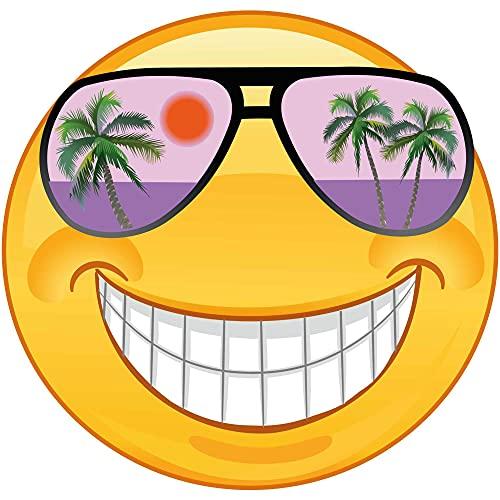 Kleberio Aufkleber mit lila Sonnenbrille lachend wetterfest für Helm Autoaufkleber Wohnmobil Mülltonnenaufkleber Wohnwagen Moped LKW Coole Sticker Set Car Sticker Aufkleber Auto Kinderzimmer 20 x 20cm