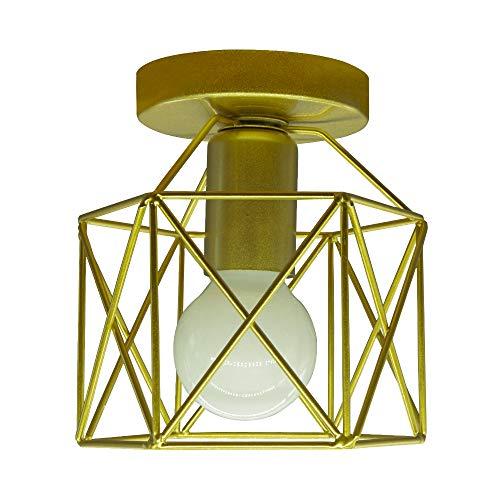 BYX Lámpara de techo LED industrial vintage, lámpara de techo de jaula de metal dorado, iluminación blanca para pasillo, pasillo, galería de hotel, entrada de casa, iluminación de cocina