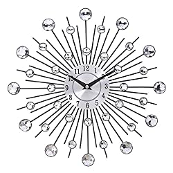 nobrand Wall Clock 33 cm Old Metal Crystal Wall Clock Luxury Diamond 3D Large Modern Wall Clock Design Node Home Decor Decorative for Kitchen Living Room Bedroom Office