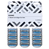 Amazon Brand - Solimo 5-Blade Razor Refills for Men with Dual Lubrication and Precision Beard Trimmer, 12 Cartridges (Fits Solimo Razor Handles only)