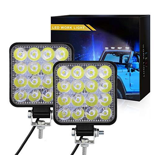 2x 48W Led Faro de Trabajo 9V-30V Focos LED para Tractores para Camiones Todo Terreno, Pickup, ATV, SUV, Barco
