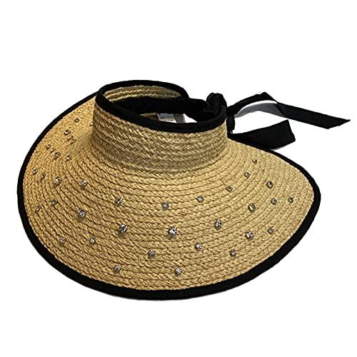 XMYNB Viseras de Sol Sombrero De Paja De Rafia De ala Ancha para Mujeres Larga Cinta Damas Playa Sombreros Vestir El Verano Vacío Vacío Tops-As Show