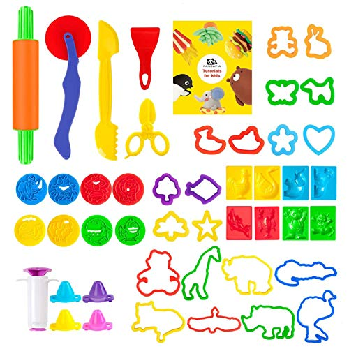Pandapia 48-Piece Dough Tools Bulk with Play Accessories Molds Scissor Party Pack Playset for Toddler Preschool Toys Classroom