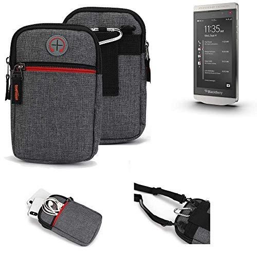 K-S-Trade® Gürtel-Tasche Für BlackBerry Porsche Design P9982 Handy-Tasche Schutz-hülle Grau Zusatzfächer 1x