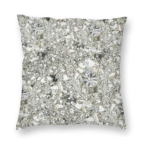 Meius - Funda de cojín con diseño de diamante blanco personalizado de terciopelo, suave, decorativa, cuadrada, funda de almohada para salón, sofá o dormitorio con cremallera invisible de 20 x 20 pulgadas