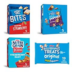 Be school day ready with easy to pack Kellogg's snacks; Includes Kellogg's Nutri-Grain Kids Strawberry Blast, Rice Krispies Treats Mini Squares Original, Rice Krispies Treats Chocolatey Snap Crackle Poppers, Pop-Tarts Strawberry Bites Great for snack...
