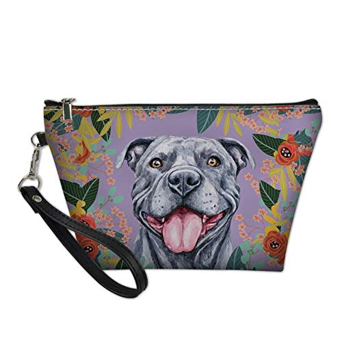 YORXINGY Travel Small Makeup Cosmetic Case,Portable Brushes Case Waterproof Toiletry Bag for Women Teen Girls Grey Pit Bull
