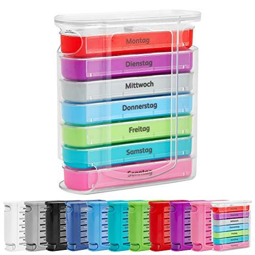 WELLGRO Tablettenbox für 7 Tage, je 4 Fächer pro Tag, 11 Farben zur Auswahl, Farbe:Bunt