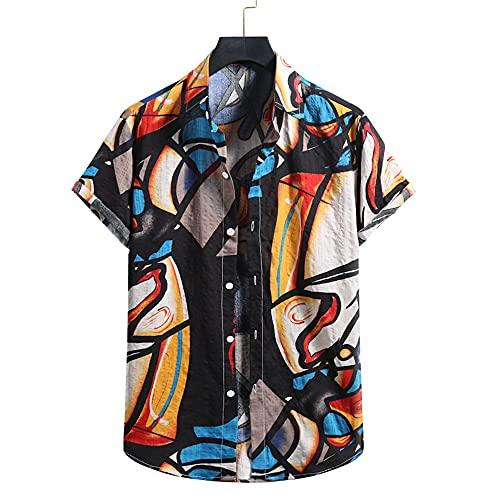 Shirt Hombre Suelta Cómoda Impresión Moda Hombre Manga Corta Vacaciones Verano Fresco Casual Transpirable Camisa Playa Hombre Natación Surf Camisa Hawaiana Hombre