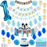 Queta Set de decoración para primer cumpleaños de bebé, para fiesta de cumpleaños o cumpleaños, juego de temática de oro azul, sombrero de 1 año, banderín de feliz cumpleaños, cake Topper, globo
