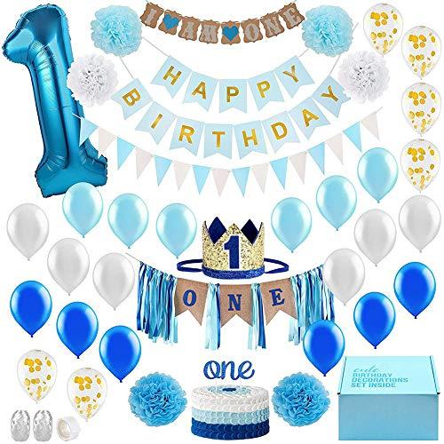 Queta Baby Jungen ersten Geburtstag Dekorationen Set,Prinz Blau Theme Kit, 1 Jahr Tiara Crown Hut, Cake Topper, Ballons, Banner, mehr Dekor-Zubehör