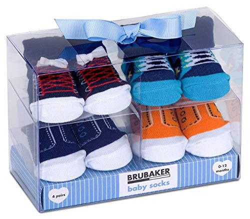BRUBAKER - Chaussettes bébé - Lot de 4 Paires - Garçon 0-12 Mois - Coffret cadeau Naissance/Baptême - Fun Sneaker/Baskets