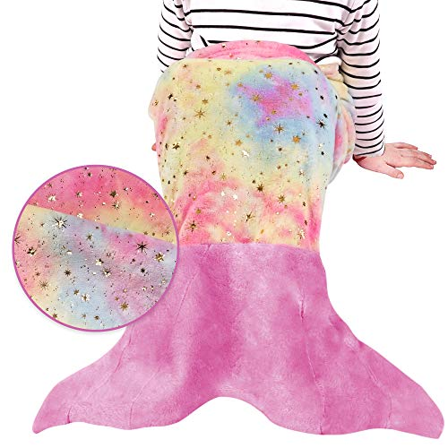 softan Kinder Meerjungfrau Decke Meerjungfrauenflosse Regenbogen, Mädchen Kuscheldecke Flanell-Fleece Decke alle Jahreszeiten Schlafsack, Kinder Für Weihnachts Geburtstagsgeschenk blau 43x100cm