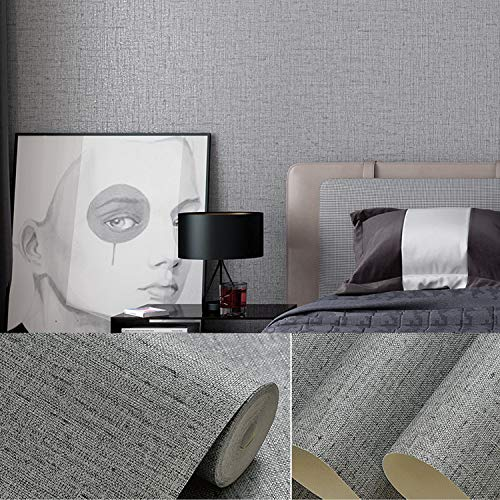 15.7'x118' Grasscloth Peel and Stick Wallpaper Gray Contact Paper Removable Wallpaper Self Adhesive Wallpaper for Home Decor Wallpaper Decorative Wallpaper for Wall Shelf Drawers Liner Vinyl Roll
