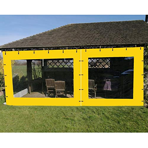 YJSMB Exterior Impermeable Cortinas, Tarea Pesada Panel Lateral Divisores Viento/Lluvia Proteccion Lona para Gazebo De Jardín, Pérgola (Color : Yellow, Size : 1.5x3m/4.9x9.8ft)