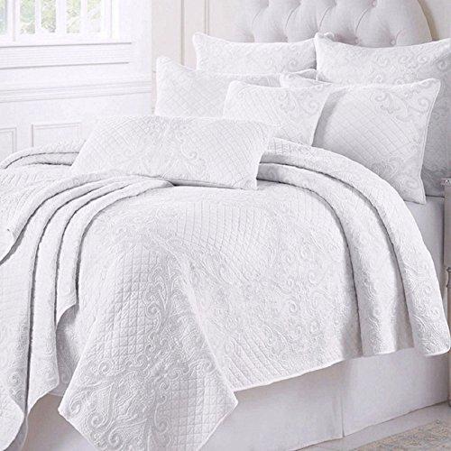 Beddingleer Tagesdecke Weiss Baumwolle Bettüberwurf Patchwork 230x250 cm Gesteppt Bettwäsche für Doppelbett Sofa Couch Überwurf Decke Winterdecke