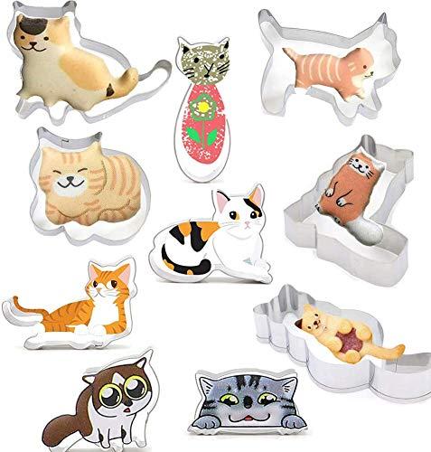 CODOHI 10個セット クッキー型 猫型 ドラゴン 型抜き ネコ キャラクター ステンレスかわいい おにぎり 製菓 動物 野菜 ハロウィン クリスマスケーキギフト 手作り