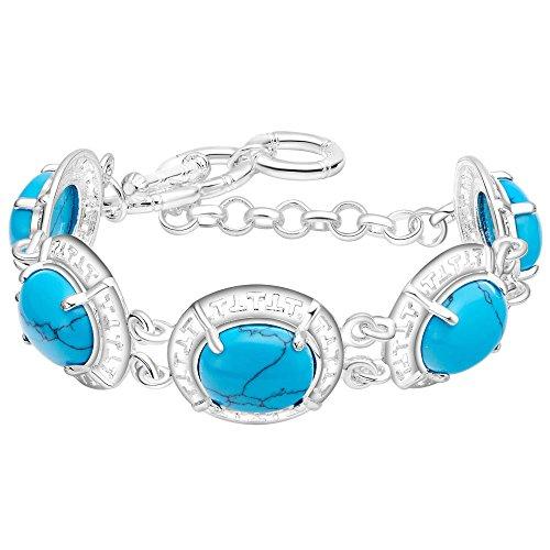 Onefeart 925 Plata Esterlina Pulsera para Mujeres Chicas Azul Turquesa Forma Rojoonda Longitud de la Cadena 21CM