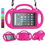 LEDNICEKER Kids Case for All-New Fire 7 Tablet (9th Generation - 2019 Release) - Shockproof Handle Friendly Kids Stand Case with Shoulder Strap for Amazon Fire 7 2019 and 2017 (7 Inch Display), Rose