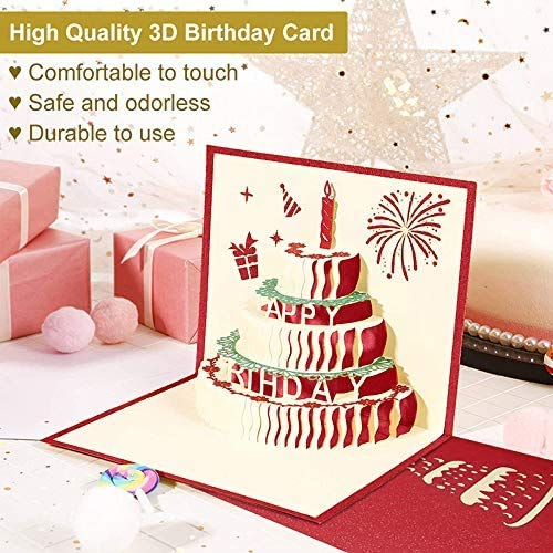 Greeting 3D pop up Folded Birthday Cards, Adispotg Birthday Gifts Card with 3 Layers Cake for Mom Dad Grandpa Grandma Boyfriend Girlfriend Wife Sister Daughter,Envelope Included(Happy Birthday)