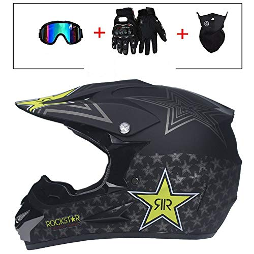 BQYY Con Guantes Máscara Gafas Casco de Motocross, Adulto Negro Mate MTB Racing Downhillhelmet, para Moto Set Off Road Crash Casco Protector, Unisex,L