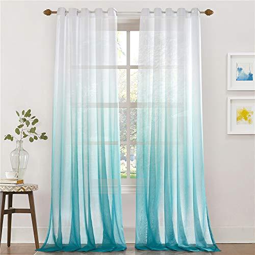 Lindong - Cortina de gasa transparente con ojales, color degradado, para dormitorio o salón, 1 unidad, tela, azul, 140x175 (BxH), Stück x1