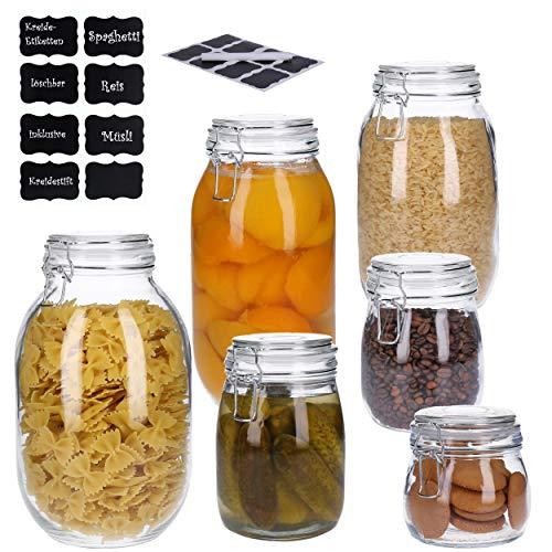 6er Set Vorratsdosen aus Glas mit Bügelverschluss, Vorratsgläser, Glasbehälter   Runde bzw. Ovale Form   inkl. 8 Kreideetiketten und Stift   luftdicht, auslaufsicher, Mottensicher (6x Mix)