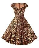 Hanpceirs Vestido de cóctel para mujer, estilo retro de los años 50, con bolsillo. Z-leopardo. S