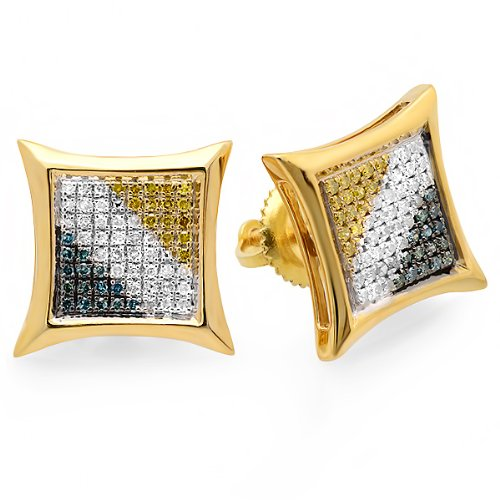 0.33 Carat (ctw) 18K Yellow Gold Plated Sterling Silver Blue, White, & Yellow Round Diamond Micro Pave Setting Kite Shape Stud Earrings 1/3 CT