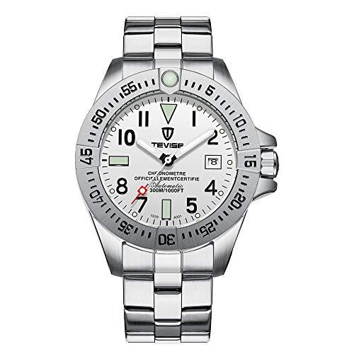 Relojes De Pulsera,Reloj Mecánico Automático Correa De Acero Impermeable para Hombres Reloj Deportivo Recreativo Moda Plata Cáscara Cara Blanca