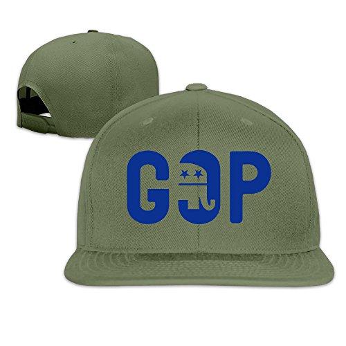 Kiwrreq GOP Marco Rubio Grand Old Party Logo Unisex Adjustable Flat Hat Bill Snapback Baseball Cap Outdoor Sports 8 Colors ForestGreen