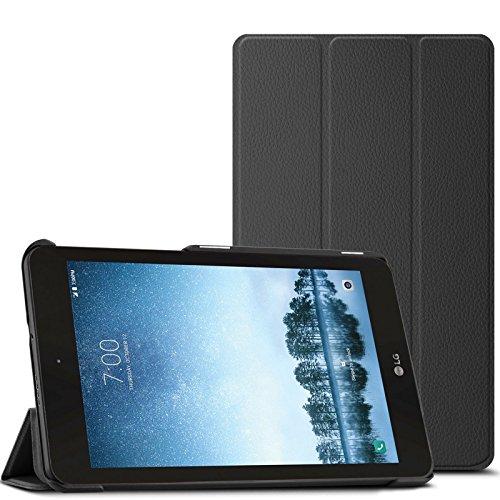 Infiland Sprint Schutzhülle für LG G Pad F2 8.0, dreifach faltbar, ultradünn, mit Standfunktion, für Sprint LG G Pad F2 8.0 LK460 8 Zoll Tablet 2017, Schwarz
