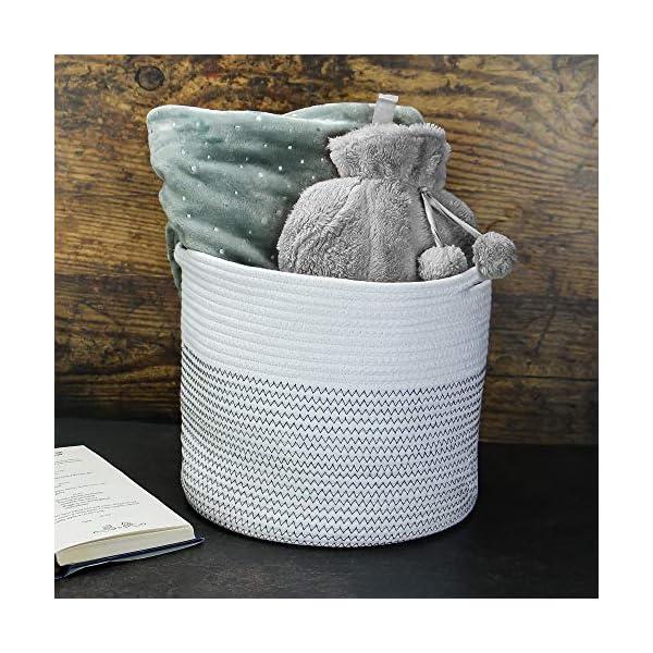Cesta de almacenamiento de algodón trenzado|Macetero de interior | Cesta de interior con asas | Cesto de la ropa | M&W