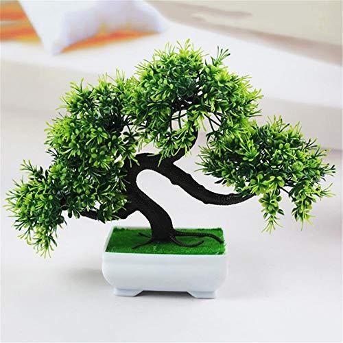 Macabolo - Bonsai artificiale di pino, mini riproduzione, albero con vaso, decorazione per la casa e l'ufficio