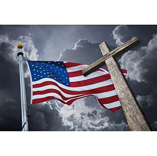 Laeacco American Flag Vinyl Photography Backdrop 10x7ft Christ Cross Background Stars and Stripes Wooden Crucifix Dark Clouds USA Church Worship God Bless Jesus Pray Baby Kids Photo Prop Decor