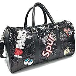 Shuban Men's and Women's Polyester Sequins Large Capacity Weekend Clothes Carry on Luggage Suitcase Organizer Gear Hand Duffel Bag Black,Shubham Enterprise,Sequin Duffel Bag