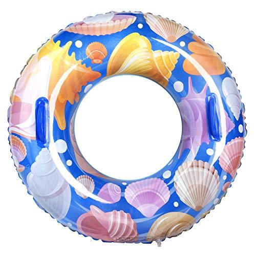 Leader Accessories Schwimmring Aufblasbar Schwimmreifen mit Griffen große Kinder ab 10 Jahren 45-80KG Muschel Ø80cm