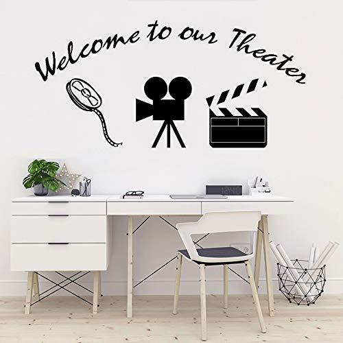 Bienvenido a nuestro cartel de teatro, pegatina de pared, cine en casa, sala de cine, decoración, proyector de películas, calcomanía de pared, póster de película A6, 120x57cm