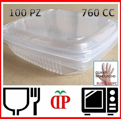 GGroup 100 VASCHETTE per Alimenti PP Utilizzabili nel MICROONDE 760cc 190x185x49 .Ideali per CIBI Caldi
