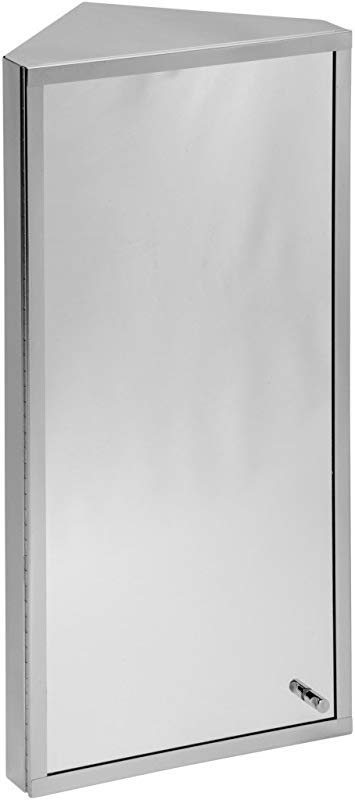 Renovators Supply Manufacturing Corner Medicine Cabinet Polished Stainless Steel Mirror Door Three Shelves Removable Middle Shelf