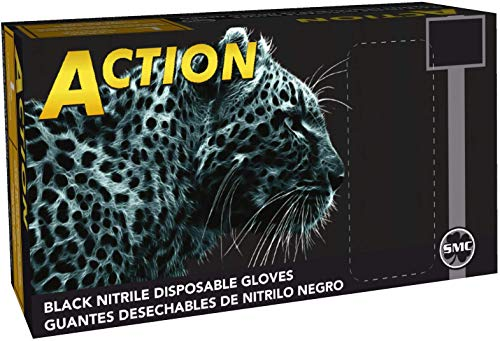 Shamrock 83012-M 6mil Black Nitrile Powder-Free Gloves, Fully Textured, Industrial (Medium)